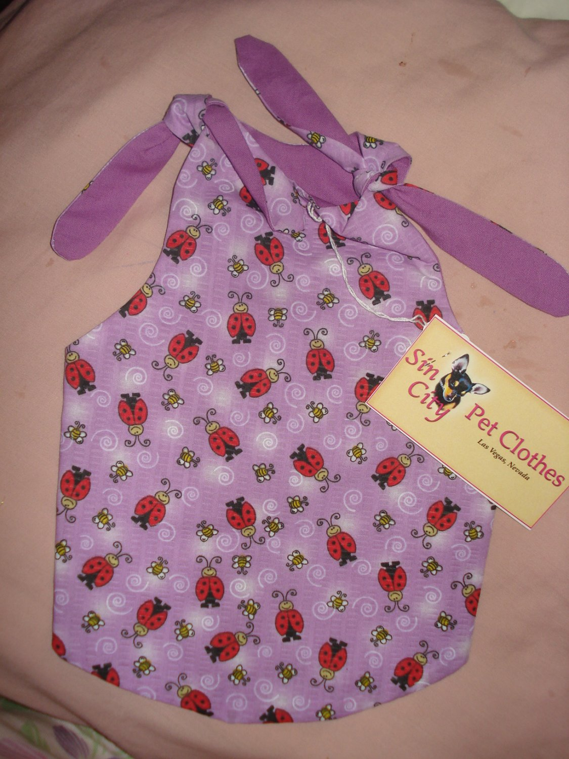 Medium REVERSABLE pet dress in purple with red lady bugs - dd04