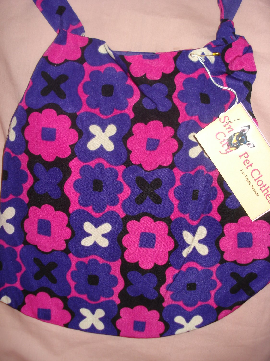 Large REVERSABLE Pet dress in purple and hot pink geometric print - dd05