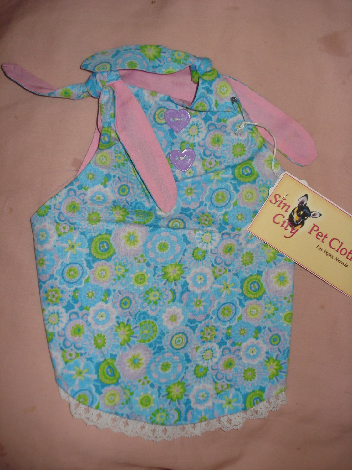 Medium pet dress in blue floral with lace trim - dd04