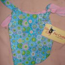 Small REVERSABLE Pet dress in blue floral print - dd01