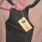 Medium REVERSABLE pet dress in pink & black with polka dots - dd04