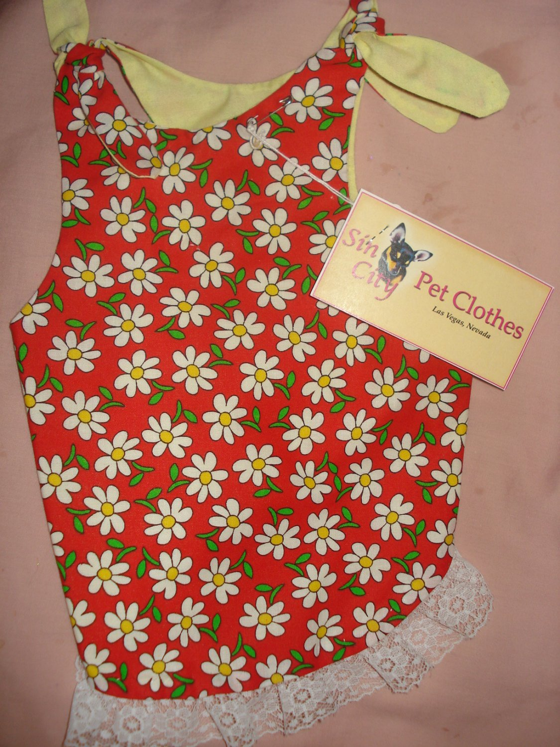 Medium REVERSABLE pet dress in red with white daisies and lace trim - dd04