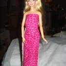 Hot pink leopard print skirt, top and headband for Barbie Dolls - ed97