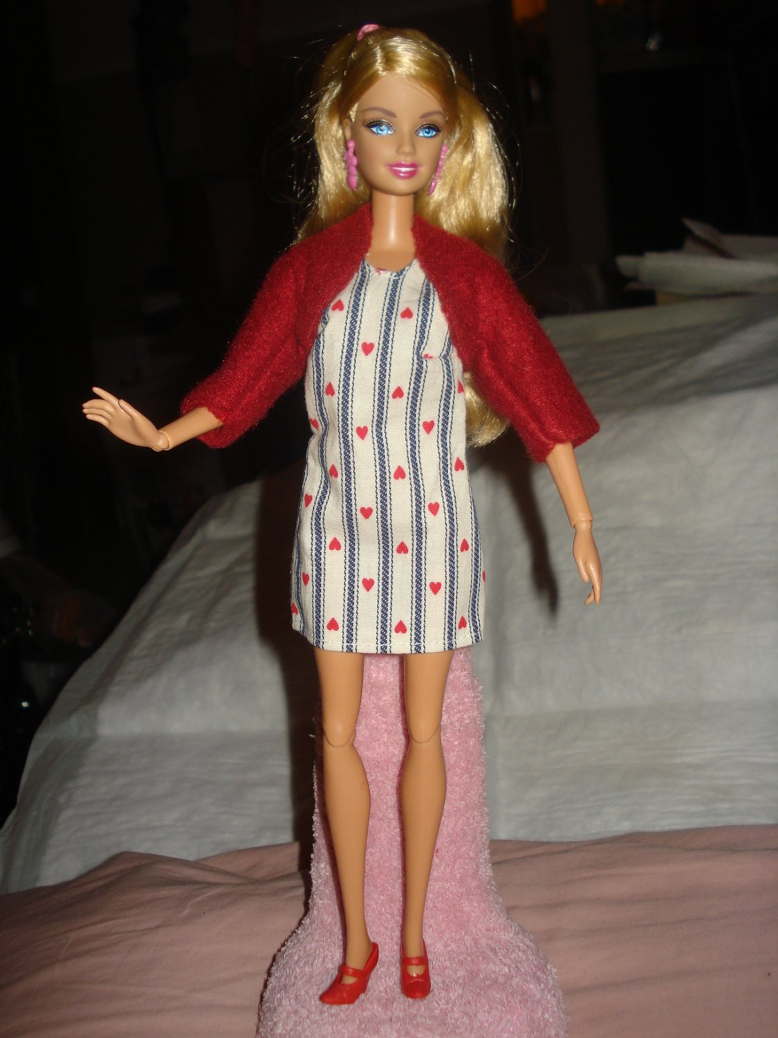 Short red heart print dress and maroon jacket for Barbie Doll - ed90
