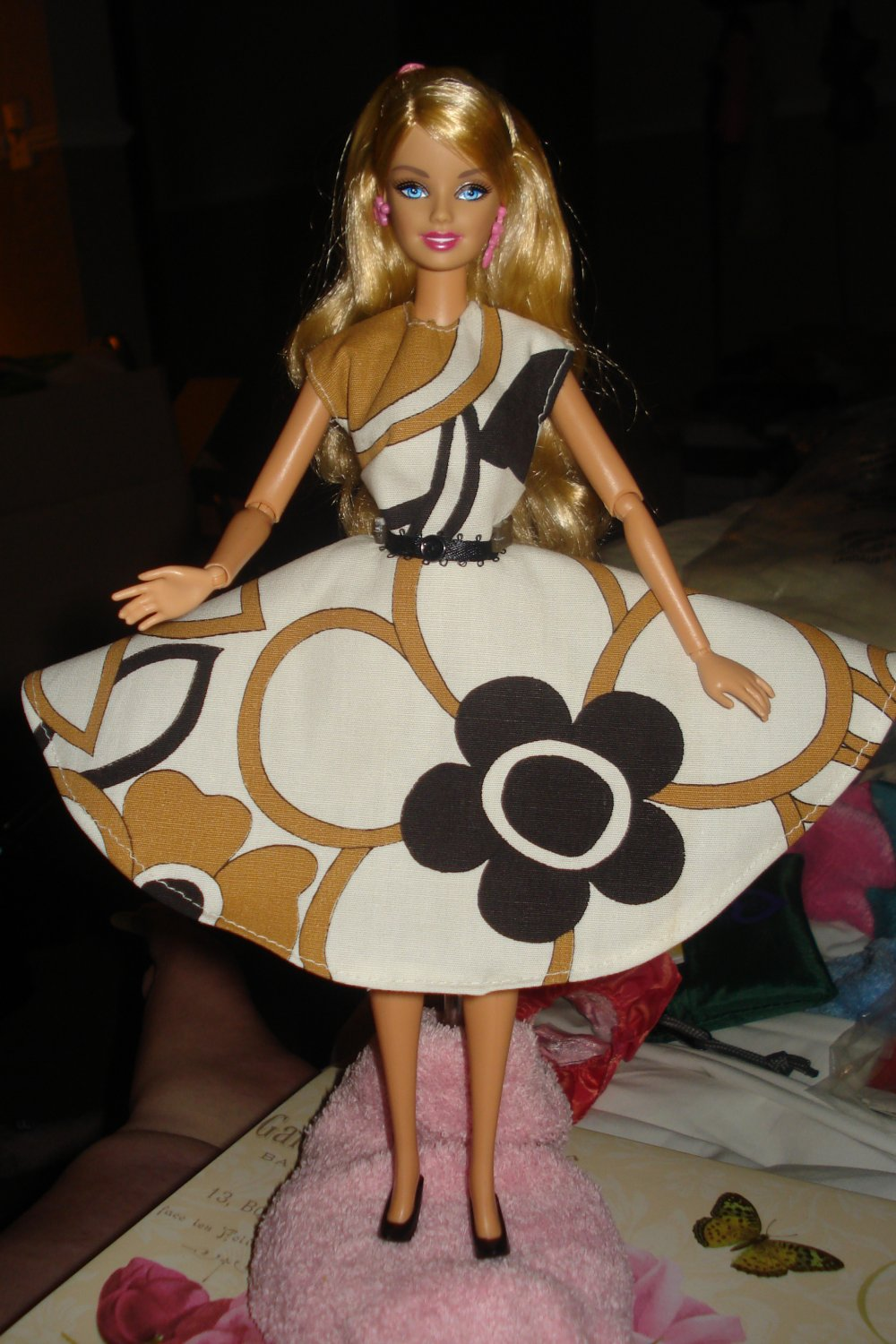 Circular skirt dress in abstract floral multi-color print for Barbie - ed18