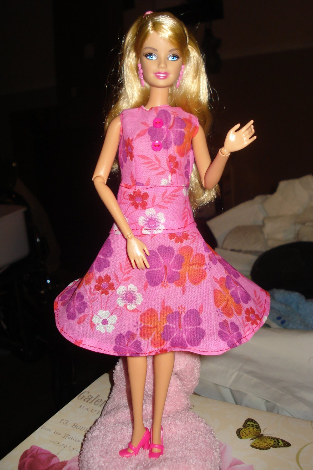 Two piece circular skirt and top set in pink floral for your Barbie Doll - ed07