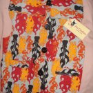 Large pet shirt / vest in grey with red, black & orange flames - dd11