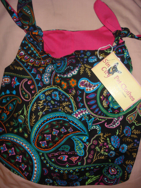 Large REVERSABLE pet dress in black & multi-colored paisley print - dd05