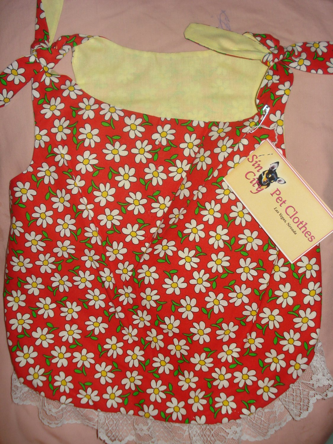 Large REVERSABLE pet dress in red with yellow daisies - dd05
