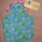 Small size pet dress in blue floral with pink ribbon ties - dd01