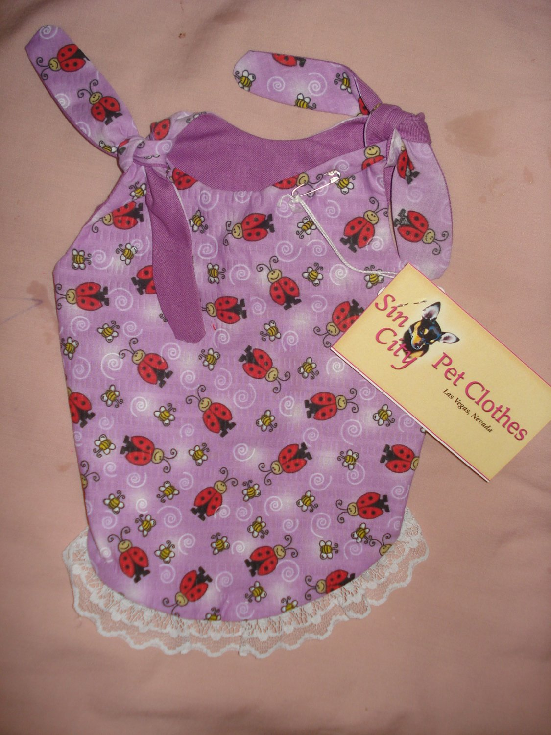 Small size REVERSABLE Pet dress in purple with red lady bugs - dd01