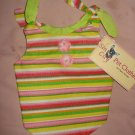 Small sized REVERSABLE Pet dress in bright multi-colored stripes - dd07