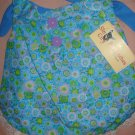 Large REVERSABLE Pet dress in blue floral print with lace trim - dd05