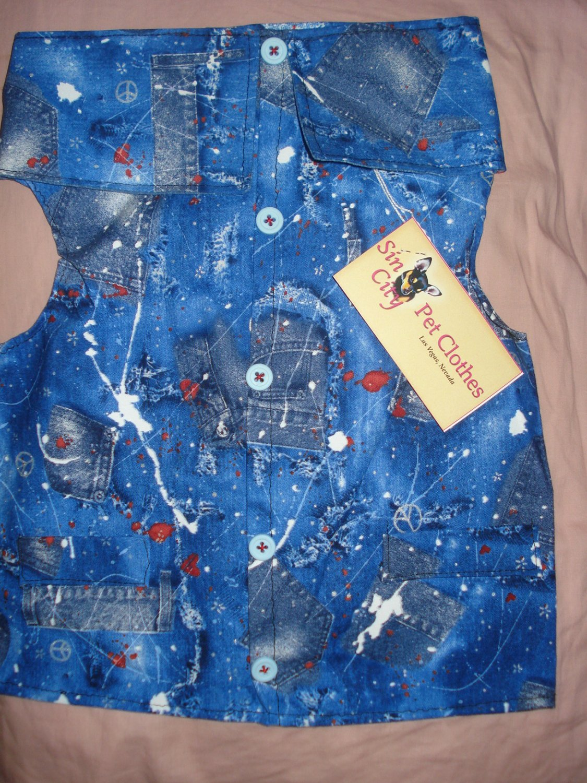 Medium size pet shirt / vest in blue jean print - dd10