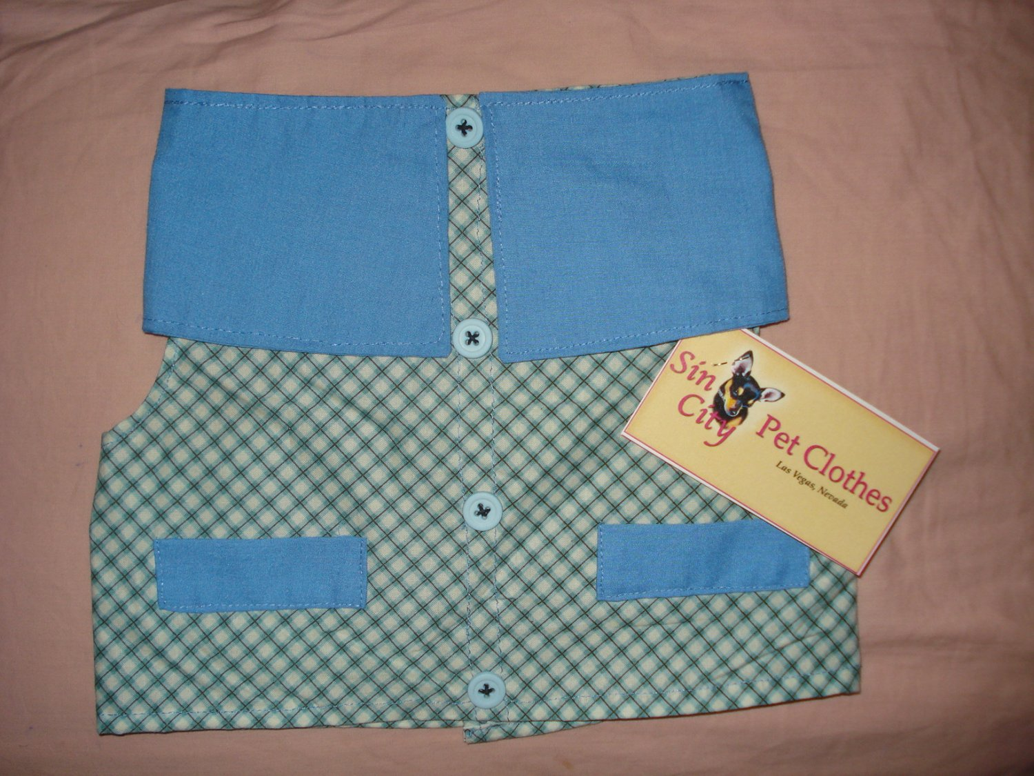 X-Small blue and white checked print pet shirt / vest - dd08