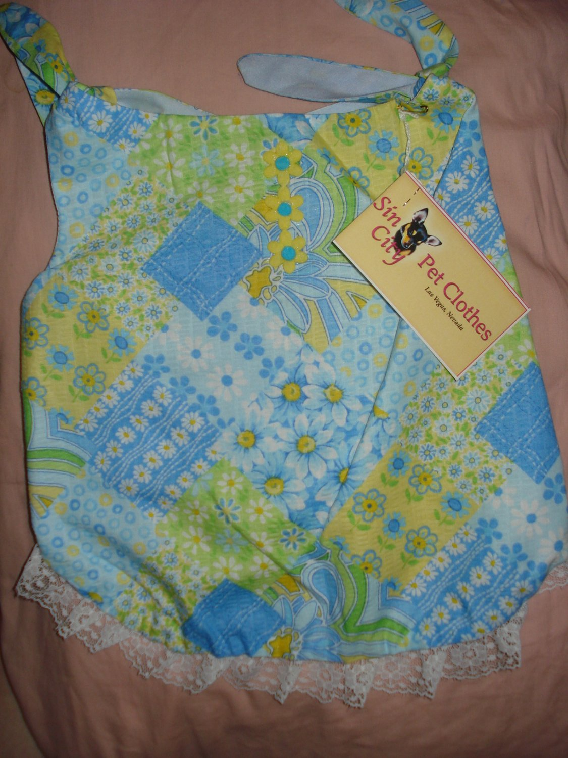 Large REVERSABLE Pet dress in blue and yellow floral patchwork print - dd05