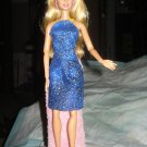 Short skirt and halter top set in royal blue and gold for Barbie Dolls -ed73