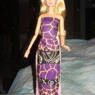 Purple & black ethnic animal print skirt, top and headband for Barbie - ed75