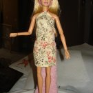 Beige floral skirt and halter top set for Barbie Dolls - ed61