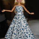 Blue and white floral formal for Silkstone Barbie Dolls - ed59