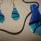 Blue & black glass teadrop necklace and earring set - eg01
