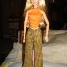 Brown striped pants and orange halter top set for Barbie Dolls - ed43