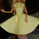 Circular skirt dress in yellow and white stripe fabric for Barbie Dolls - ed17