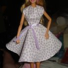 Circular skirt purple polka dot print dress for Barbie - ed14