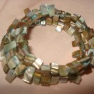 Abalone wrap bracelet in aqua and tan - eg19