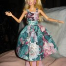 Pink & green floral semi-formal dress for Barbie Dolls - ed114