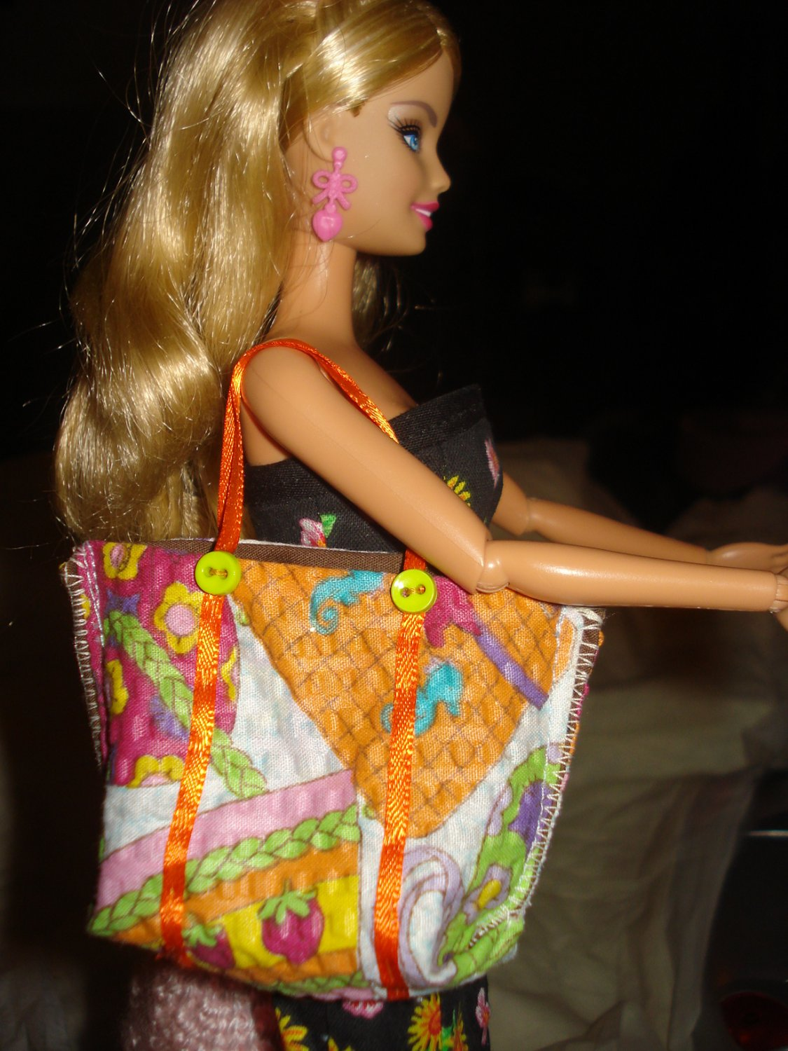 Tote bag / purse in a purse print material for Barbie Dolls - ed123