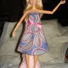 Strapless sundress in blue and pink paisley for Barbie Dolls - ed117