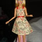 Red and black floral print sundress for Barbie Dolls - ed125