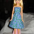 Royal blue geometric print sundress for Barbie Dolls - ed124
