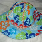 Baby / toddler hat in blue with multi-colored flowers - ekho1c