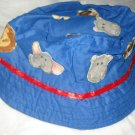 Baby / toddler hat with appliqued wild animals & ribbon trim - ekho1d