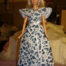 White & blue fruit print long wrap dress for your Barbie Dolls - ed133