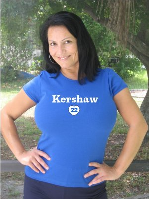 "Womens ""Clayton Kershaw"" Dodgers T Shirt Jersey S-XXL"