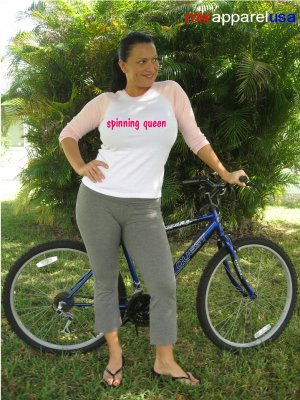 "Womens ""Spinning Queen"" Exercise Workout Fitness T Shirt"