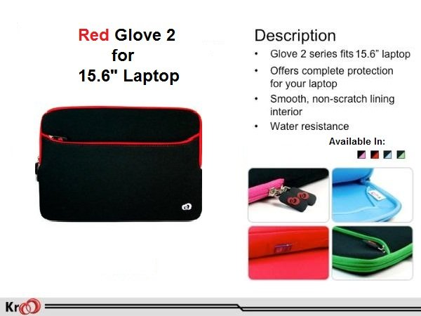 """RED Kroo GLOVE 2 W/POCKET for 15.6"""" Notebook"""