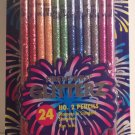 Glitterz 24 Fireworks! count No.2 Lead Real Wood Pencils by Pentech Assorted Glitter Colors