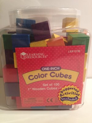 Color Cubes Quality Hardwood Six (6) Colors Plus Storage Set of 100 One-Inch 1� Learning Resources