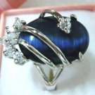 Exquisite blue opal crystal women's ring size:7,8,9