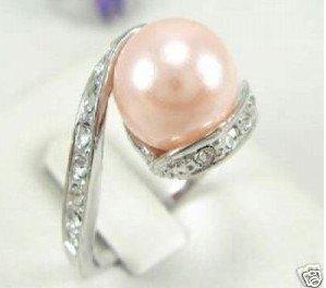 Beautiful pink shell pearl women's ring 7-10# free shipping