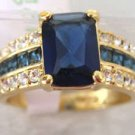 Genuine blue Tourmaline Tanzanite 18K GP Ring  free shipping