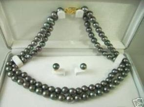 Fancy!! 2row black pearl necklace & earring free shipping