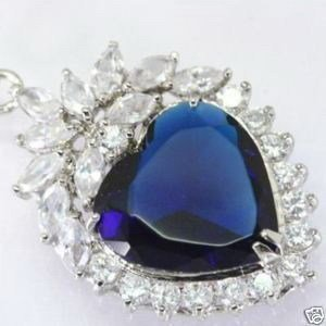 Blue HEART of ocean titanic CZ crystal Pendant Necklace free shipping