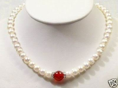 "NEW 7-8MM WHITE PEARL & 10MM JADE NECKLACE 18"" free shipping"