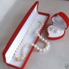 "Classic 7-8mm White Pearl Necklaces Sets 18"" free shipping"