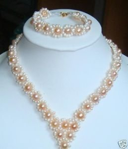 Jewelry wedding pink freshwater pearl necklace bracelet  free shipping